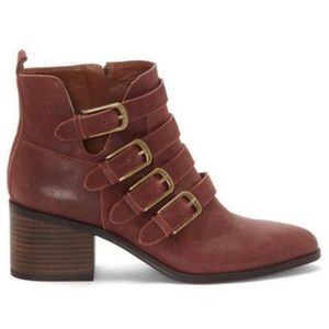 NEW Lucky Brand Loreniah leather buckle booties